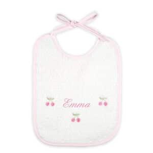 Bavaglino neonato personalizzato Ciliegine in spugna