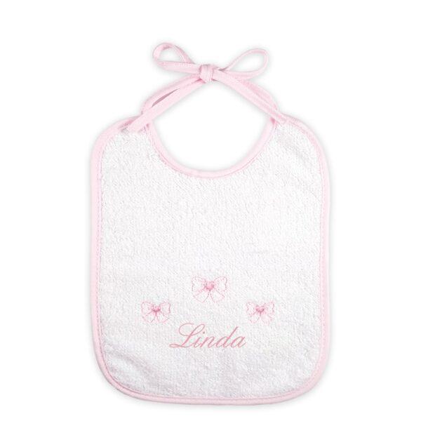 Bavaglino neonato personalizzato Fiocchetti in spugna