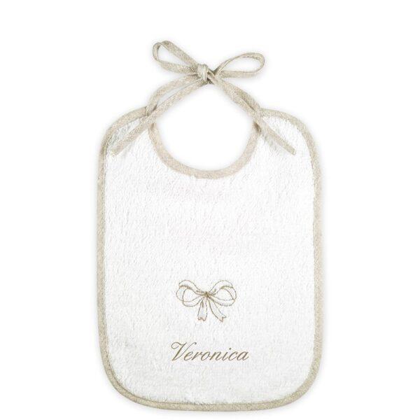 Bavaglino neonato personalizzato Nodo d'Amore in spugna