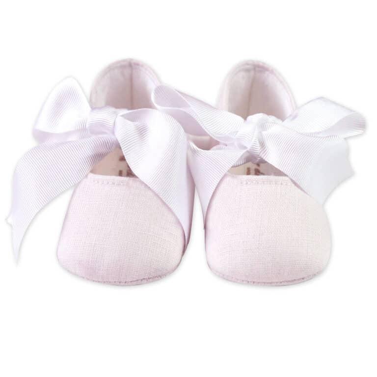 Ballerina neonato in lino con fiocco