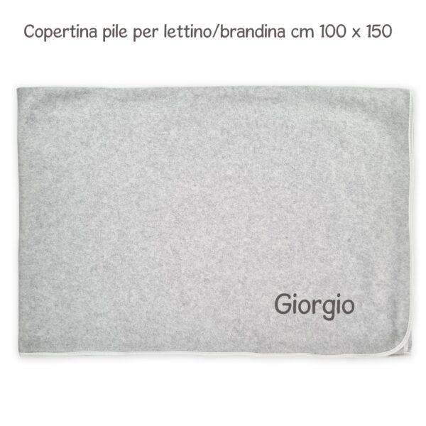 Coperta Lettino Personalizzata Felpa-Pile Grigio