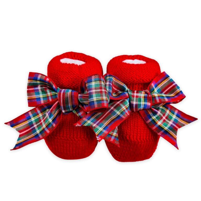 Scarpina in maglia con fiocco scozzese